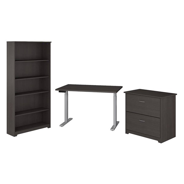 Bush Furniture Cabot Heather Gray 3pc Office Set (Desk-File Cabinet-Bookcase) BUSH-CAB064HRG