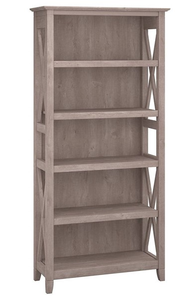 Bush Furniture Key West Washed Gray 5 Shelf Bookcase BUSH-KWB132WG-03