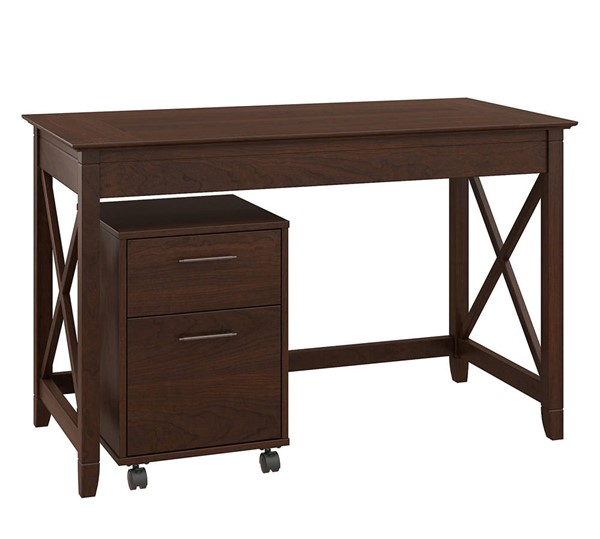 Bush Furniture Key West Bing Cherry 48W Writing Desk with 2 Drawer Mobile Pedestal BUSH-KWS001BC