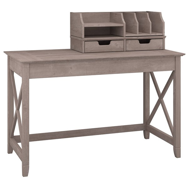 Bush Furniture Key West Washed Gray 48W Writing Desk with Desktop Organizers BUSH-KWS005WG