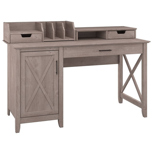 Bush Furniture Key West Washed Gray 54W Single Pedestal Desk with Desktop Organizers BUSH-KWS010WG