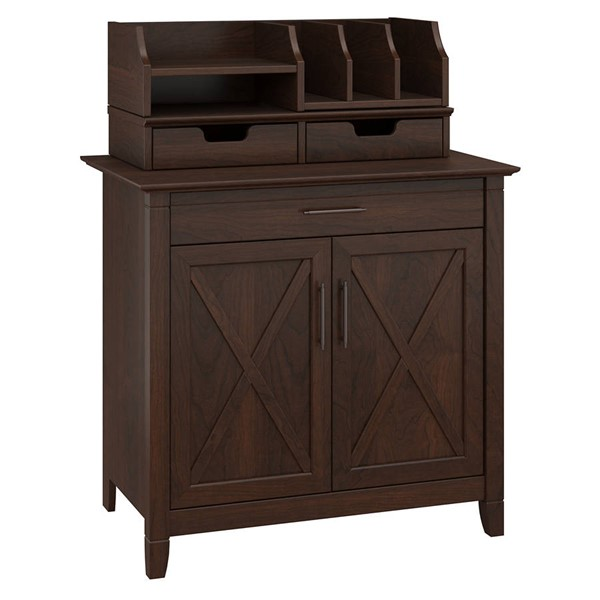 Bush Furniture Key West Bing Cherry Secretary Desk with Desktop Organizers BUSH-KWS011BC