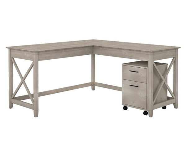 Bush Furniture Key West Washed Gray 60W L Desk with Mobile Pedestal BUSH-KWS013WG