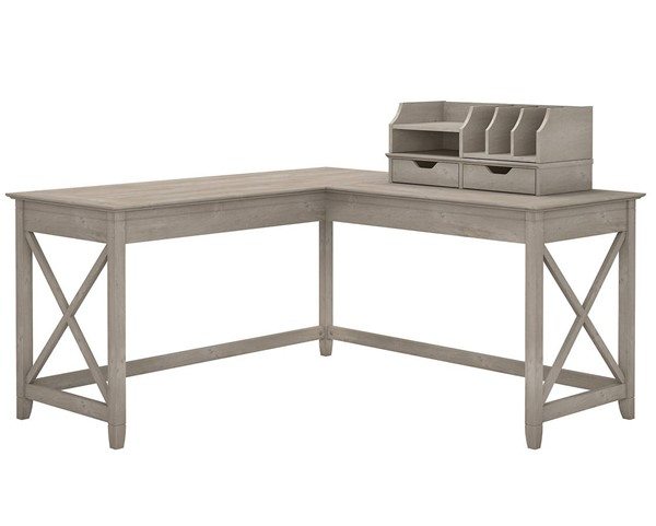 Bush Furniture Key West Washed Gray 60W L Desk with Desktop Organizer BUSH-KWS015WG