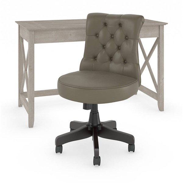 Bush Furniture Key West Washed Gray 2pc Writing Desk and Tufted Chair Set BUSH-KWS021WG