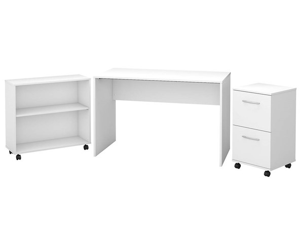 Bush Furniture Office Complete Pure White 3pc Office Set (Desk-Bookcase-Pedestal) BUSH-OCU199PW-03K