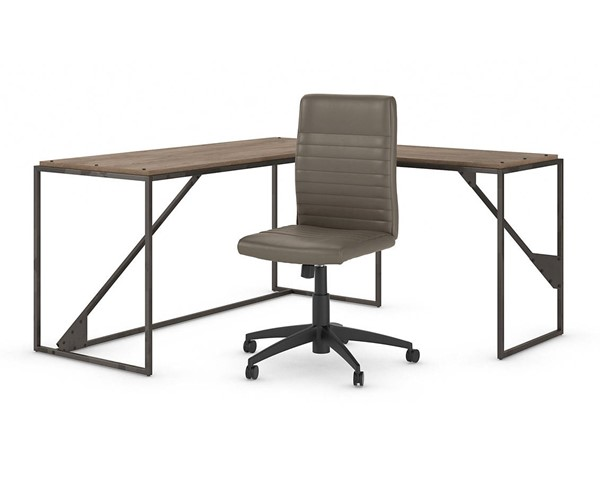 Bush Furniture Refinery Rustic Gray 2pc L Desk and Mid Back Ribbed Chair Set BUSH-RFY011RG