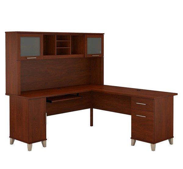 Bush Furniture Somerset Hansen Cherry 72W L Desk with Hutch BUSH-SET001HC