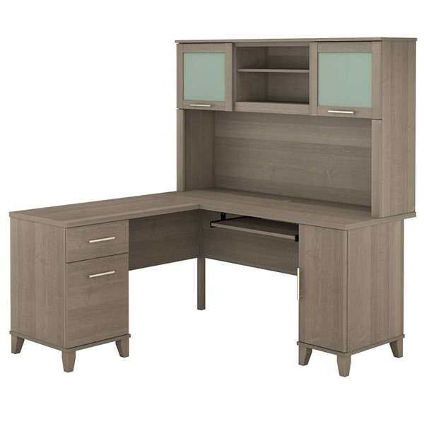 Bush Furniture Somerset Ash Gray 60W L Desk with Hutch BUSH-SET002AG