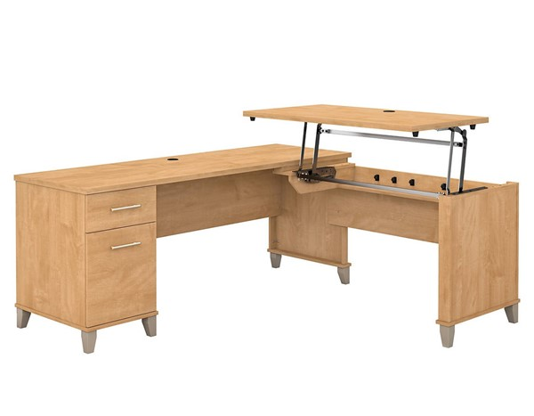 Bush Furniture Somerset Maple Cross 72W L Shaped Desk BUSH-SET014MC