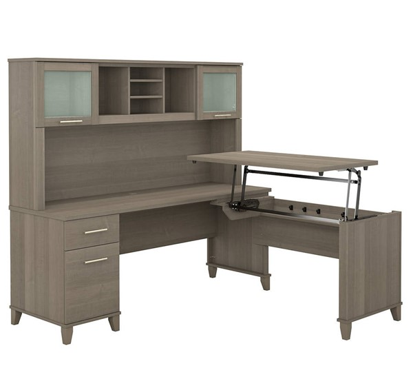 Bush Furniture Somerset Ash Gray 72W L Shaped Desk With Hutch BUSH-SET015AG
