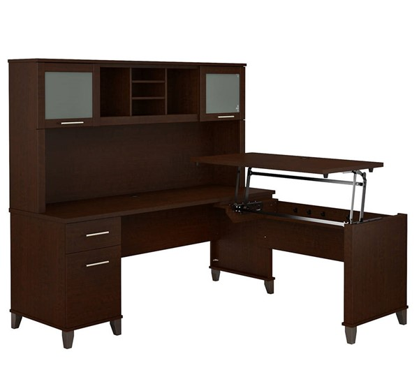 Bush Furniture Somerset Mocha Cherry 72W L Shaped Desk With Hutch BUSH-SET015MR