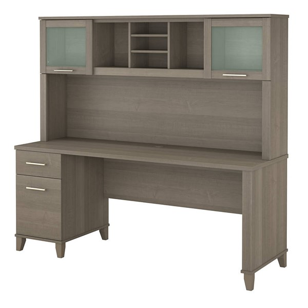 Bush Furniture Somerset Ash Gray 72W Single Pedestal Desks with Hutch BUSH-SET018-DESK-VAR
