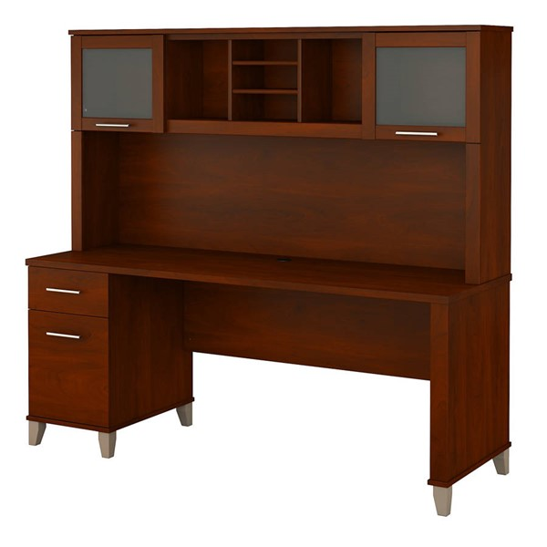 Bush Furniture Somerset Hansen Cherry 72W Single Pedestal Desk with Hutch BUSH-SET018HC