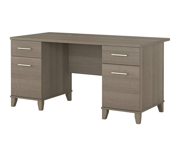 Bush Furniture Somerset Ash Gray 60W Double Pedestal Desk BUSH-WC81628K