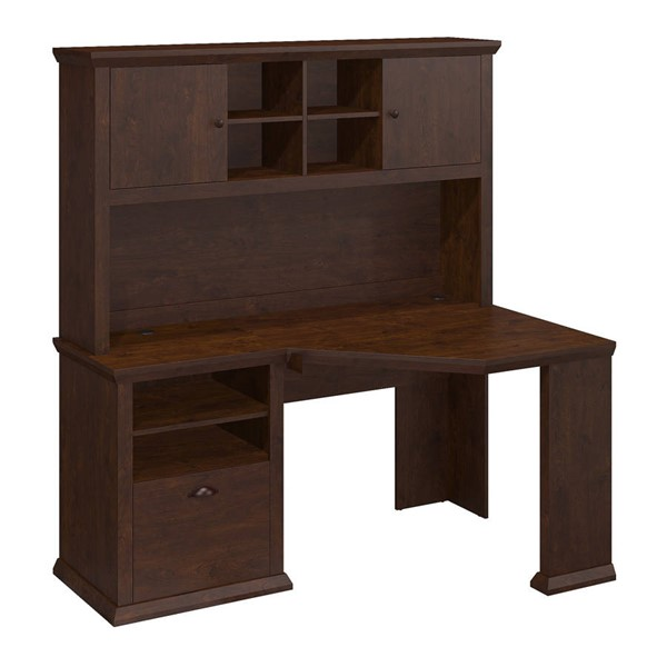 Bush Furniture Yorktown Antique Cherry 60W Corner Desk and Hutch BUSH-YRK008ANC