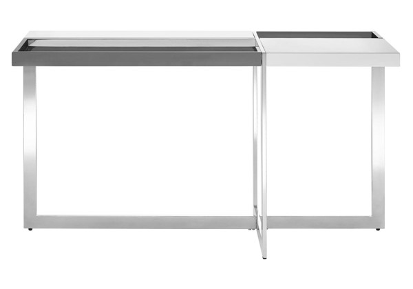 Casabianca Home Domino White Dark Gray High Polished Stainless Steel Console Table CASA-TC-2605