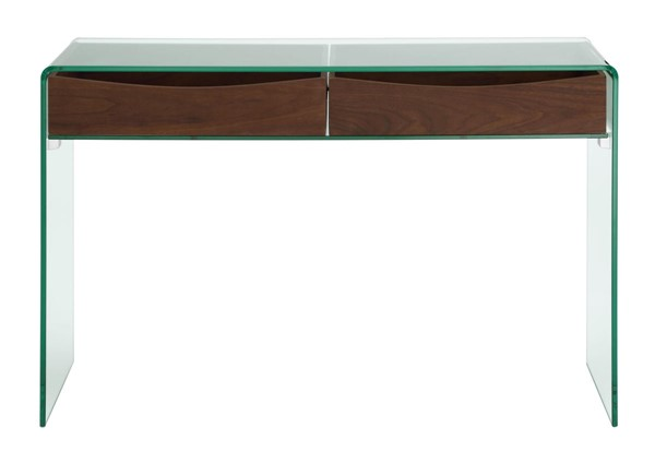 Casabianca Home Ibiza Walnut Veneer and Clear Glass Rectangle Console Table CASA-CB-020-CONSOLE-WAL