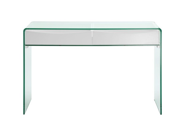 Casabianca Home Ibiza High Gloss White Lacquer and Clear Glass RectangleConsole Table CASA-CB-020-CONSOLE-WHT