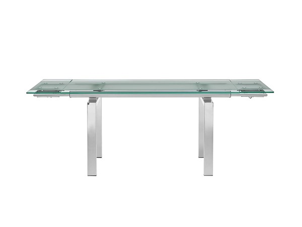 Casabianca Home Frosty Clear Glass and Polished Stainless Steel Base Dining Table CASA-CB-02DT