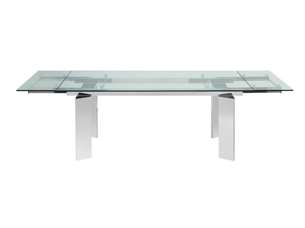 Casabianca Home Euphoria Clear Glass and Polished Stainless Steel Base Dining Table CASA-CB-095