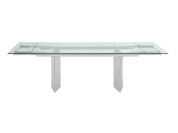 Casabianca Home Tower Clear Glass and Polished Stainless Steel Base Dining Table CASA-CB-096