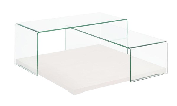 Casabianca Home Kinetic Clear Glass and White Lacquer Coffee Table CASA-CB-1100-WH