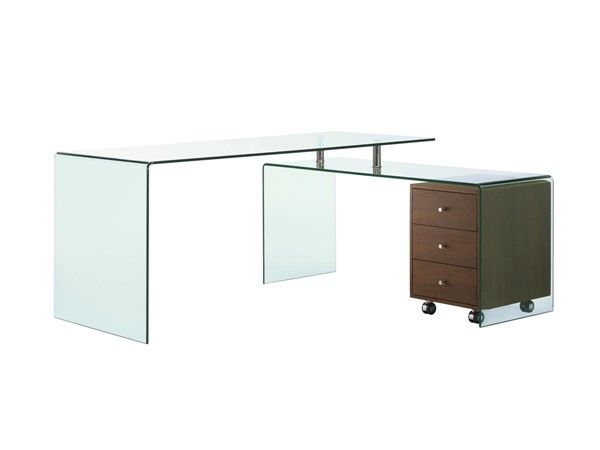 Casabianca Rio Modern Walnut Glass Top Office Desk CASA-CB-1109-WAL-DESK