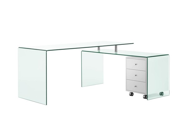 Casabianca Rio Modern White Glass Top Office Desk CASA-CB-1109-WH-DESK