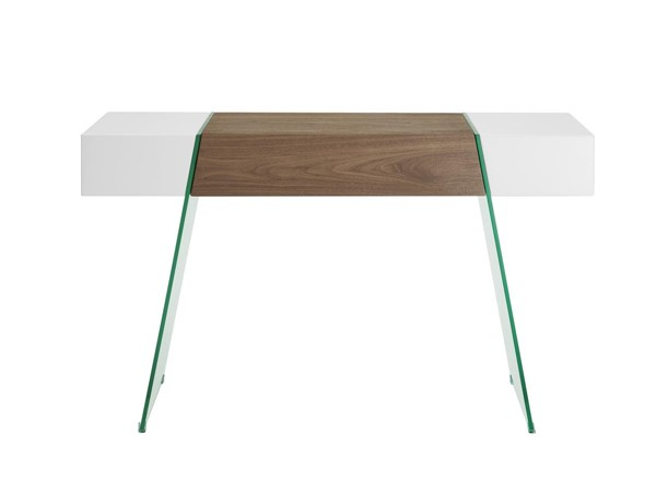 Casabianca Home IL Vetro Cabana White Lacquer and Walnut Veneer Clear Rectangle Console Table CASA-CB-111-DR-CONSOLE-WH-WAL