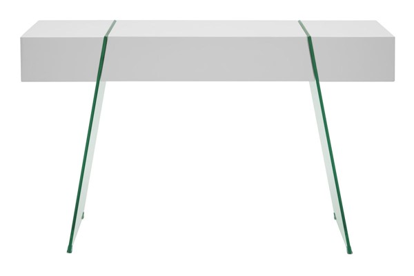 Casabianca Home IL Vetro Cabana White Lacquer and Clear Glass Rectangle Console Table CASA-CB-111-DR-CONSOLE-WH