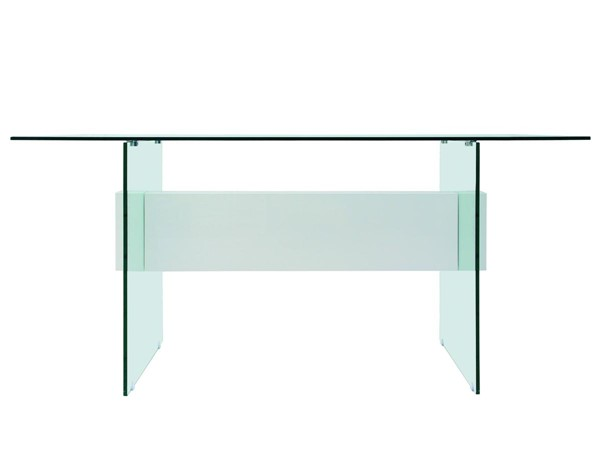Casabianca Il Vetro Modern White Glass Top Rectangle Office Desk CASA-CB-111-W-EXEC