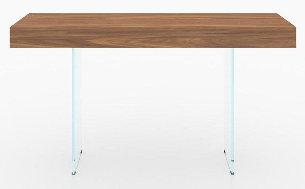 Casabianca Home IL Vetro Cabana Walnut Veneer Clear Glass Console Table CASA-CB-111-WAL-CONSOLE