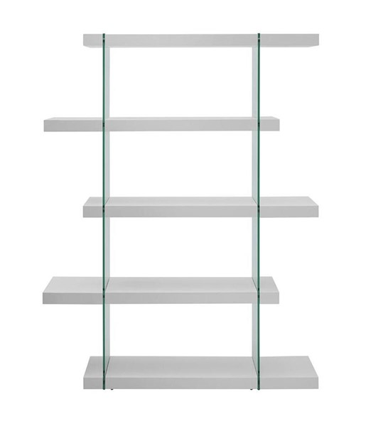 Casabianca Home IL Vetro White Lacquer and Clear Glass Bookcase CASA-CB-111-WW-BKS