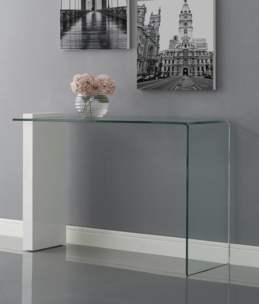 Casabianca Home Buono High Gloss White Lacquer and Clear Glass Console Table CASA-CB-1154-CONSOLE-WH