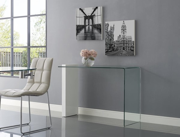 Casabianca Buono White Glass Rectangle Console Table CASA-CB-1154-CONSOLE-WH