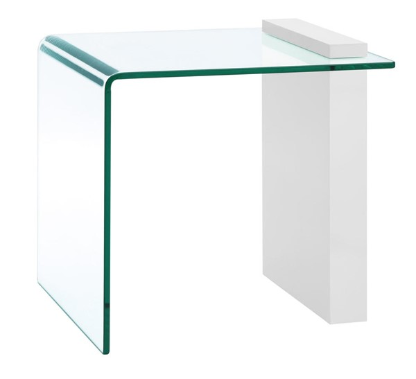 Casabianca Home Buono High Gloss White Lacquer and Clear Glass End Table CASA-CB-1154-END-WH