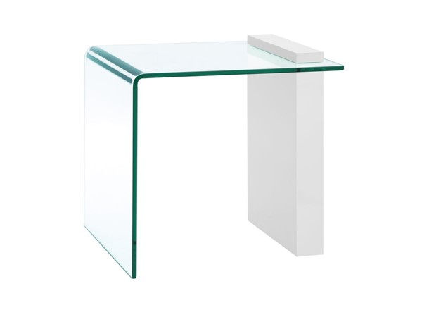 Casabianca Buono Modern White Glass Square End Table CASA-CB-1154-END-WH
