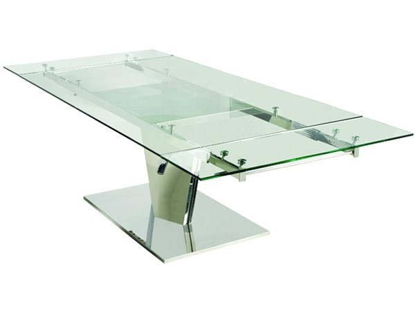 Casabianca Home Diamond Clear Glass and Polished Stainless Steel Base Dining Table CASA-CB-123C