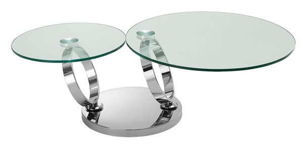 Casabianca Home Satellite Clear Glass and High Polished Stainless Steel Coffee Table CASA-CB-129