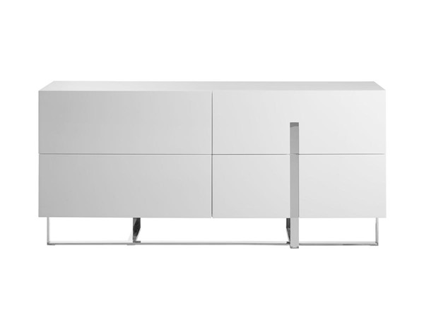 Casabianca Home Collins White High Polished Stainless Steel Dresser CASA-CB-1302-D