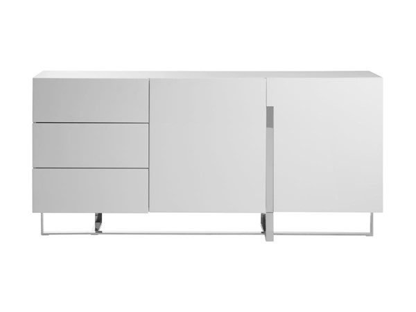 Casabianca Home Collins White High Polished Stainless Steel Buffet Server CASA-CB-1302B