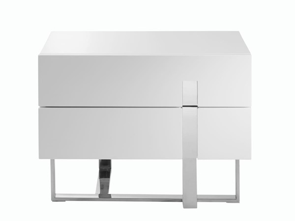Casabianca Home Collins White High Polished Stainless Steel Nightstand CASA-CB-1302-N