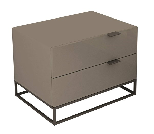 Casabianca Home Vizzione Taupe Lacquer and Black Base Nightstand CASA-CB-1406-NG