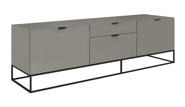 Casabianca Home Vizzione Taupe Lacquer and Black Base Entertainment Center CASA-CB-1411-TVG