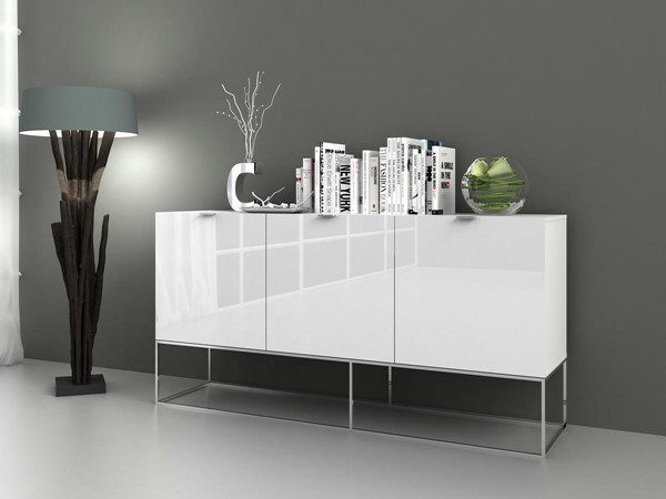 Casabianca Home Vizzione White Lacquer and High Polished Stainless Steel Buffet Server CASA-CB-1411-WH