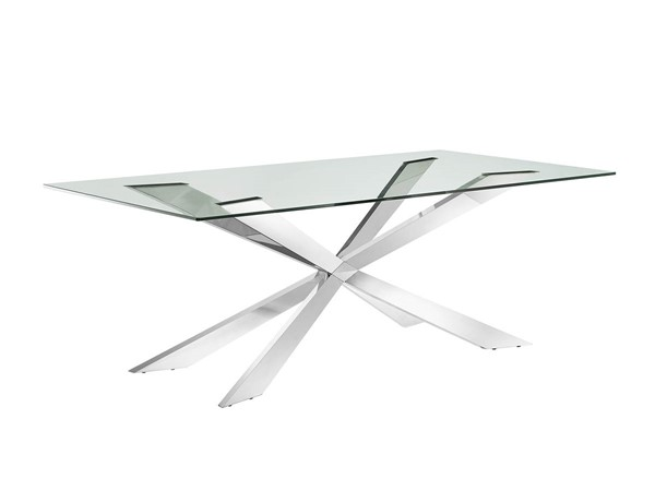 Casabianca Home Vortex Clear Glass and Polished Stainless Steel Base Dining Table CASA-CB-2070