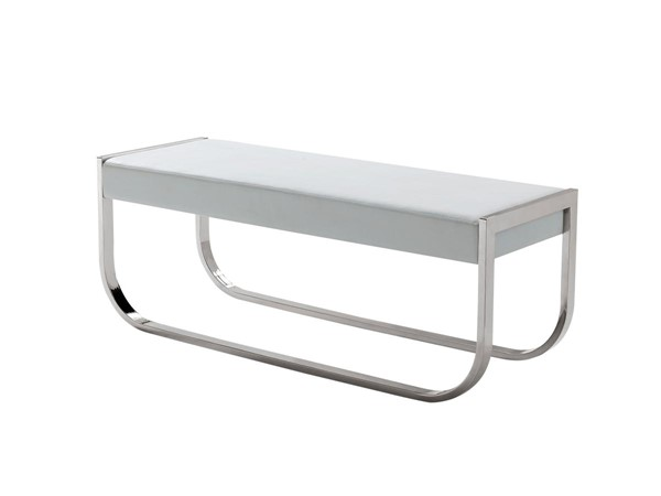 Casabianca Home Bellagio White PU Leather and Stainless Steel Base Bench CASA-CB-3001-WH-BENCH