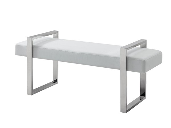 Casabianca Home Alba White PU Leather High Polished Stainless Steel Bench CASA-CB-3430-WH-BENCH