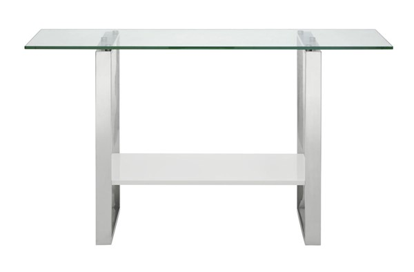 Casabianca Home Clarity High Gloss White Lacquer and Polished Stainless Steel Console Table CASA-CB-3441-W